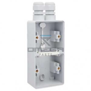 OMEGA  114062 Wall socket housing - for 2 AC outlets - vertical mounted - dual cable entry