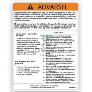GMG  268556-NO GMG Decal warning machine operation NO