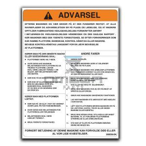 GMG  268556-DK GMG Decal warning machine operation DK