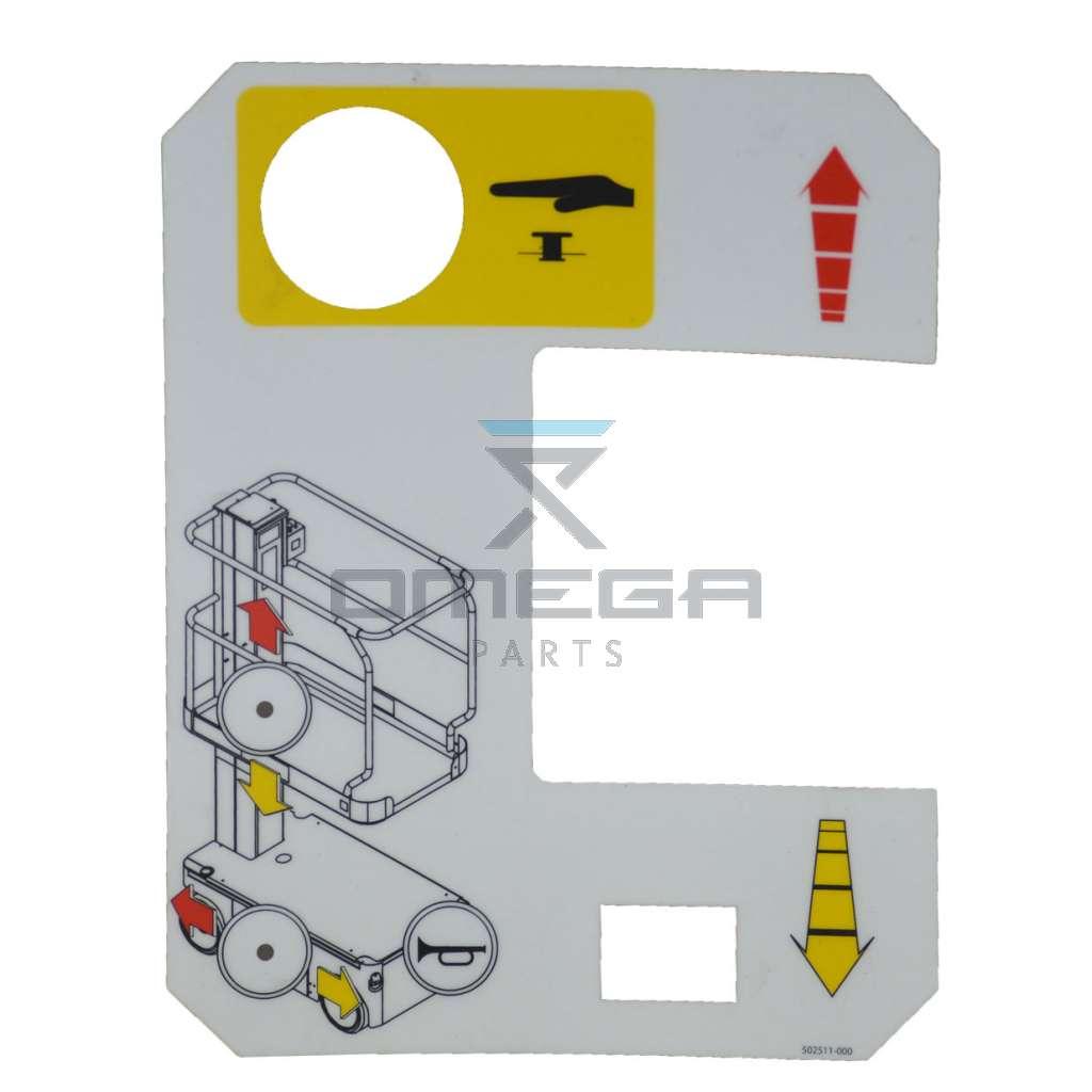 UpRight / Snorkel 502511-000 Upper control box decal TM12