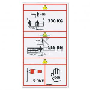 GMG  268404VRT Decal - SWL 230 kg  - 115 kg - indoor