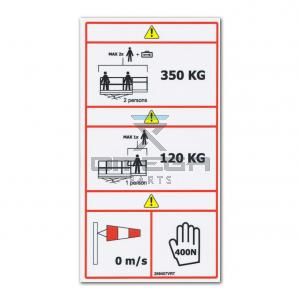 GMG  268407VRT Decal - SWL 350 kg  - 120 kg - indoor