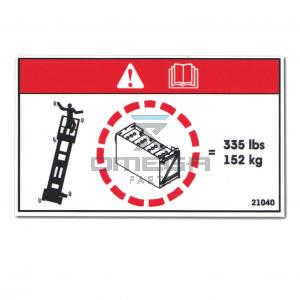 GMG  21040 Decal - warning - batteries weight