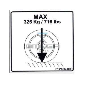 UpRight / Snorkel 512465-000 Decal max wheel load