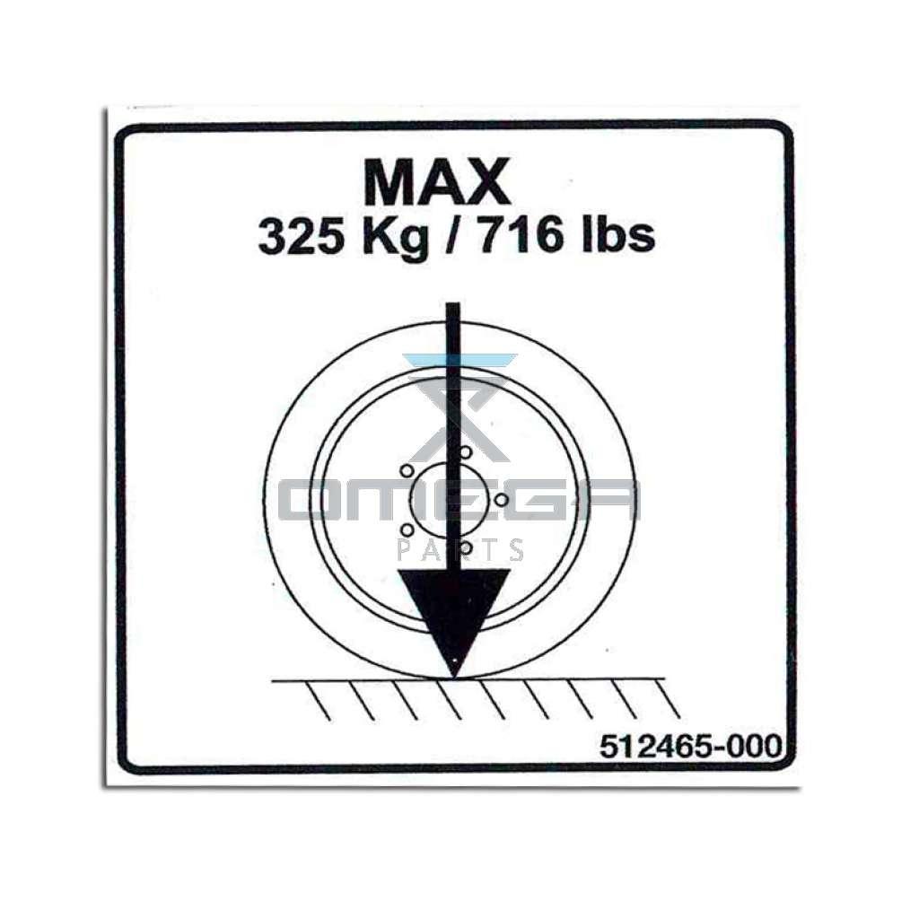 UpRight / Snorkel 512465-000 Decal max wheel load