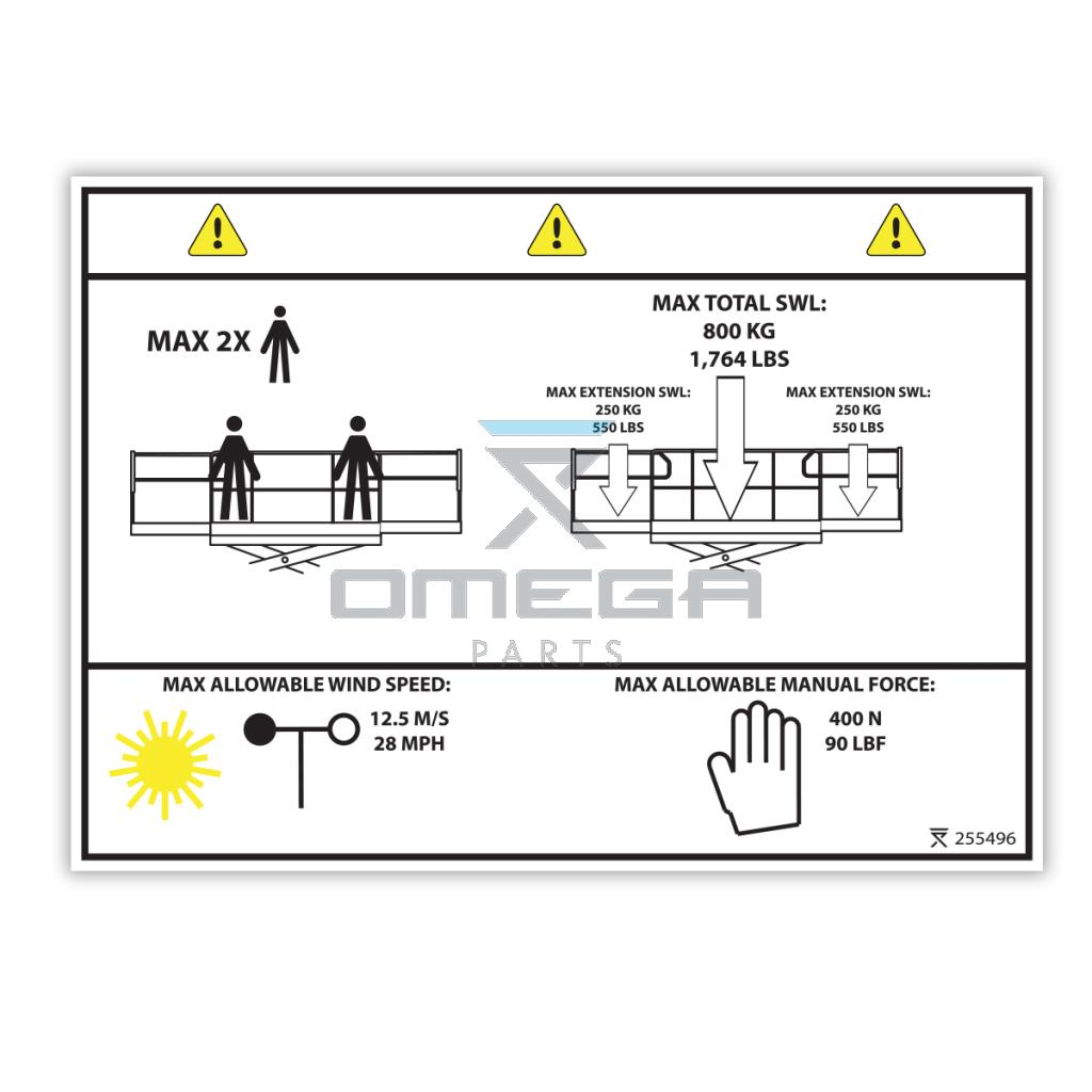 OMEGA 255496 Decal - SWL 800 kg - 1,764 LBS (USA ANSI) - 2 pers.