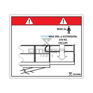 OMEGA 255498 Decal - Max SWL on extension 250 kg - 550 LBS (USA ANSI)