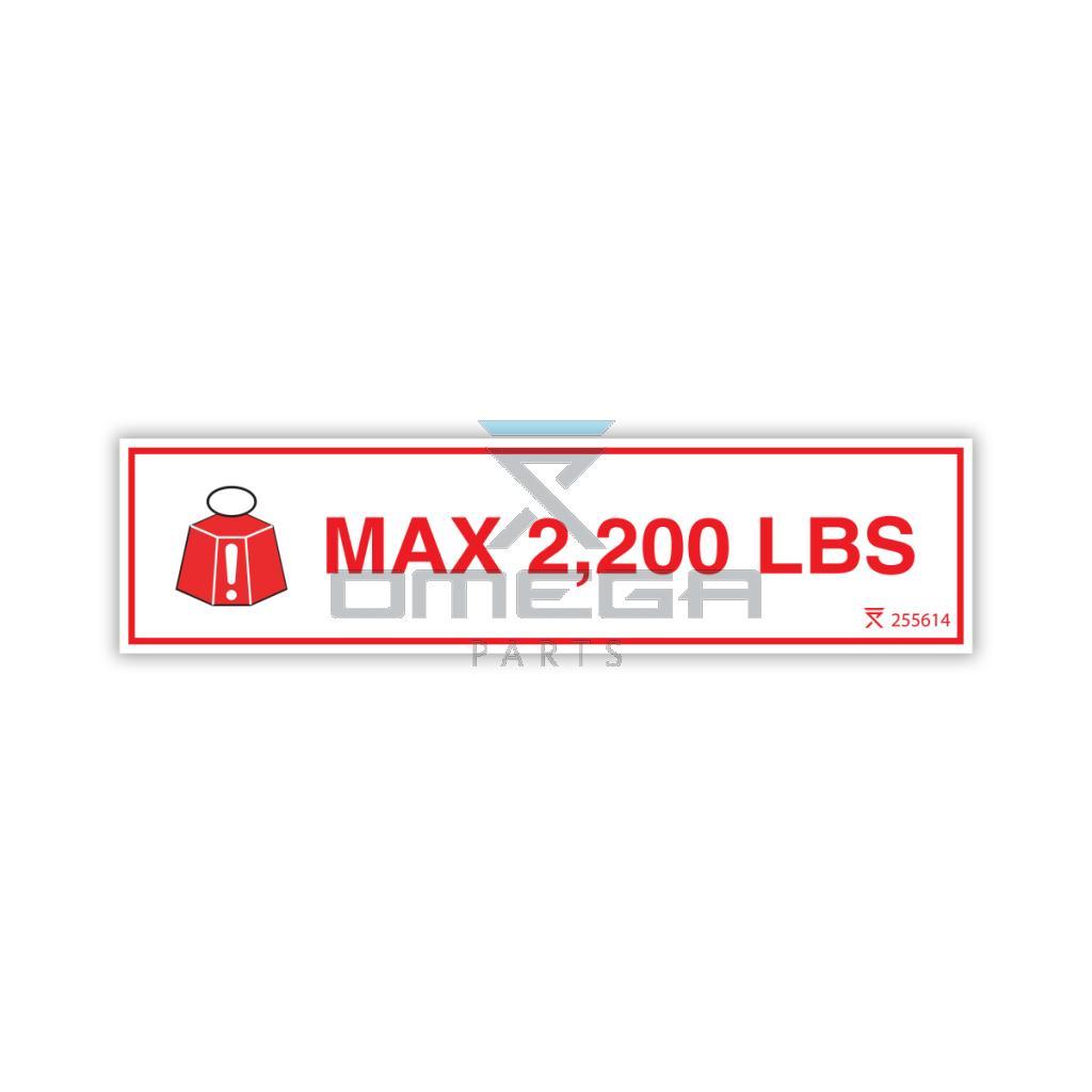 OMEGA 255614 Max load lifts - 2200 LBS