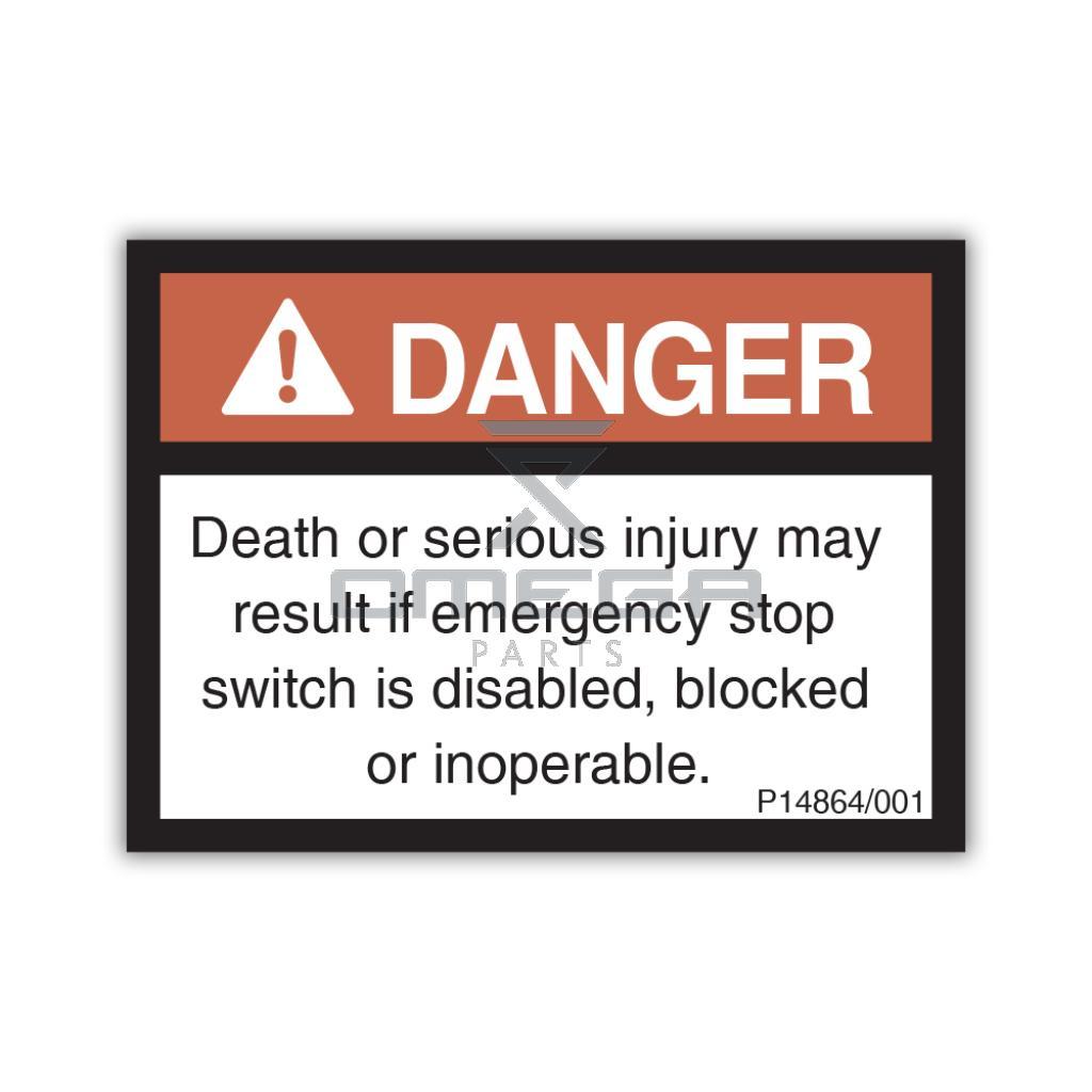 NiftyLift P14864 Decal - danger