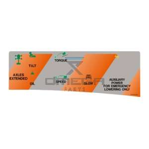 UpRight / Snorkel 100340-006 Decal upper control SB80 Aux