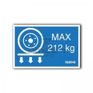 GMG  368048 GMG 1030-PA - max wheel load decal