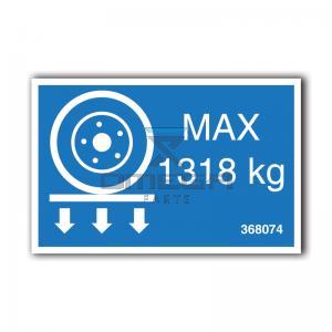 GMG  368074 GMG 3369RT - max wheel load decal