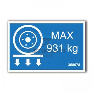 GMG  368078 GMG VM26J - max wheel load decal