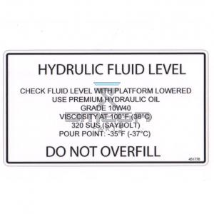 UpRight / Snorkel 451776 Decal - hydr fluid