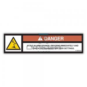 NiftyLift  P18842 label if tilt alarm sounds tm uk