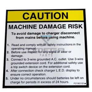 NiftyLift  P21951 label - charger warning - eng