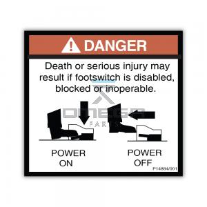 NiftyLift  P14884 label - footswitch disabled - UK