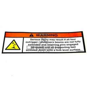 NiftyLift  P18634 label - manual outriggers - uk