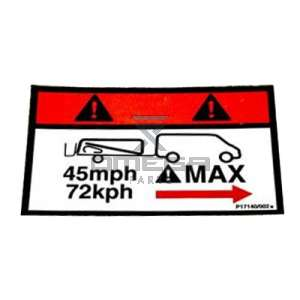 NiftyLift  P17140 label - towing speed 45mph