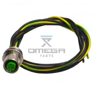 OMEGA  478808 M12 Female flange connector - 3way - 0,5m wire harness