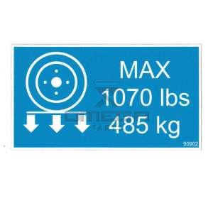 MEC Aerial Work Platforms 90902 Decal wheel load