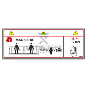 OMEGA  598186 Decal - SWL 500 kg - 2 pers - indoor only