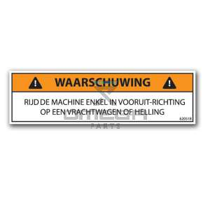 OMEGA  620518 Decal - warning - only drive forward NL