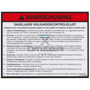 NiftyLift  P17318 Decal - General warning - NL