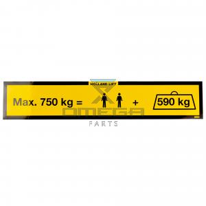 Holland Lift ST-S-003 Decal max load - 750KG