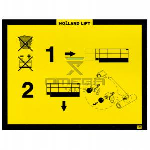 Holland Lift STICKER125 Decal - emergency lowering