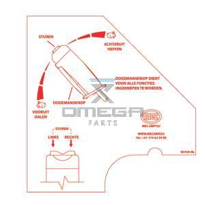 MEC Aerial Work Platforms 90729-NL Decal - upper control side - NL