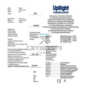 UpRight / Snorkel 060572-090 CE Certificate X-series