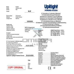 UpRight / Snorkel 060572-190 CE certificate SL20