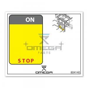 OMEGA  804140 Decal - control box - glass-lift