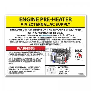 OMEGA  805002 Decal - Engine Pre-heater - via Ext AC - 110-125VAC