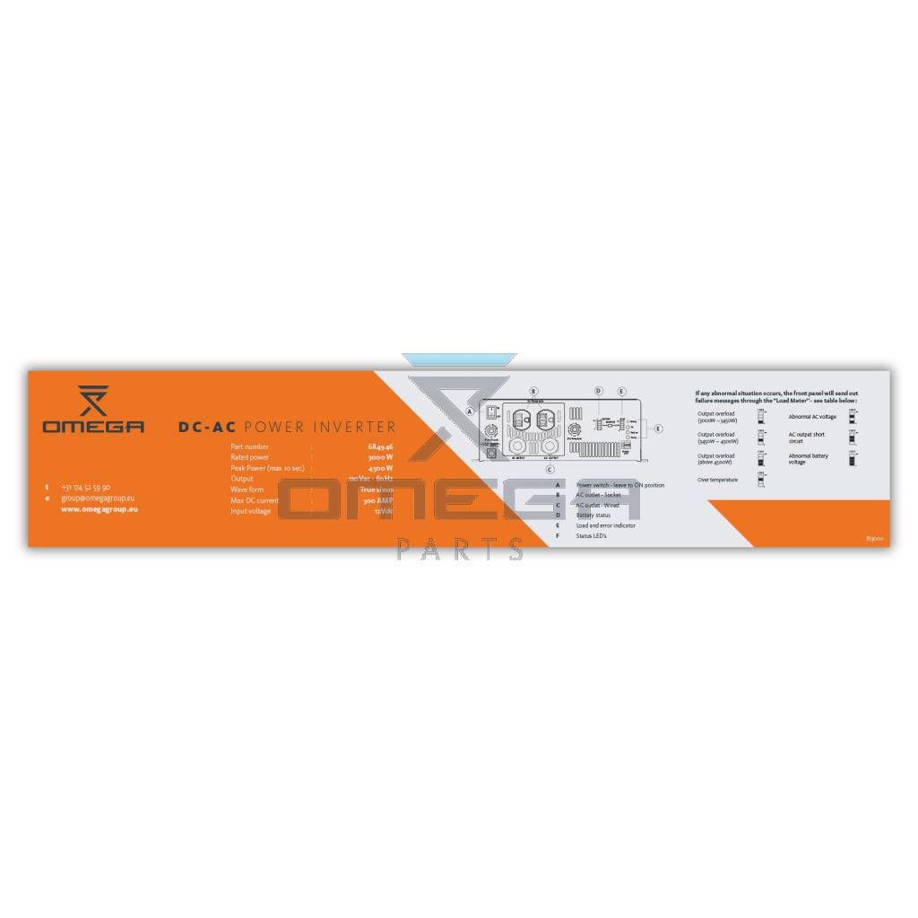OMEGA 813000 Decal - For DC-AC conv - 684946  12V-110Vac_3kW